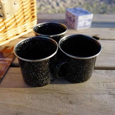 Enamel star cups, for a warming hot chocolate or tea during your Good Heavens Dark Sky Experience.